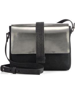 Monili-trim Metallic Leather Shoulder Bag
