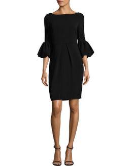Bell Sleeve Crepe Dress
