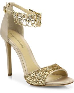 Evelyn Jeweled Suede & Glitter Sandals