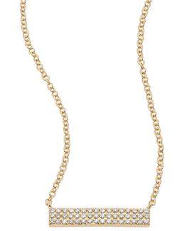 Mini Jumbo Bar Diamond & 14k Yellow Gold Pendant Necklace
