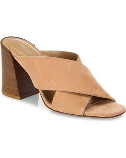 Brianna Crisscross Suede Block Heel Mules