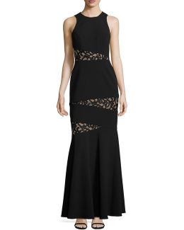 Asymmetrical Lace Inset Gown