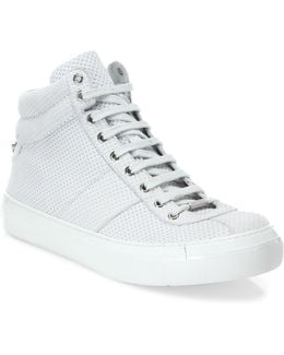 Dot Embossed Leather Sneakers
