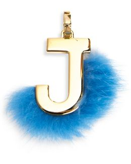 Mink Fur-trimmed Initial Charm