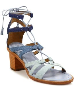 Brielle Colorblock Denim Gladiator Sandals