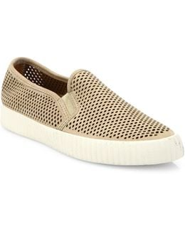 Camille Perforated Nubuck Skate Sneakers