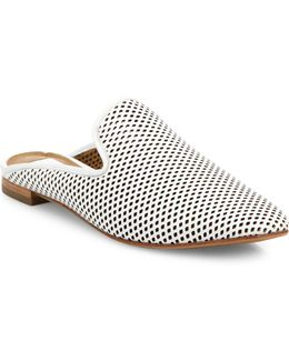 Gwen Perforated Leather Flat Mules
