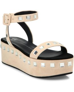 Jeweled Suede Platform Ankle-strap Sandals