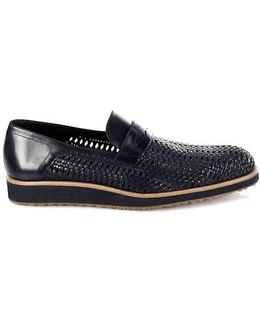 Open Woven Leather Dress Loafers