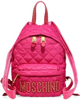 Studded Logo Patch Quilted Backpack