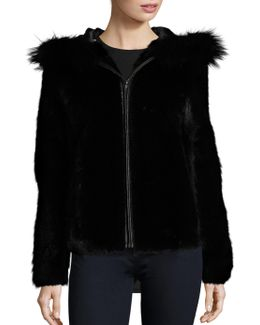 Hooded Mink & Fox Fur Jacket