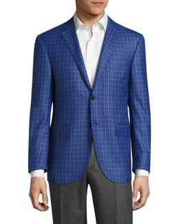 Virgin Wool Regular-fit Checkered Jacket