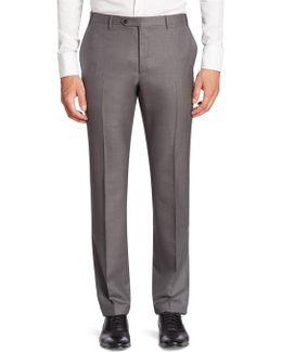 Solid Slim-fit Wool Pants