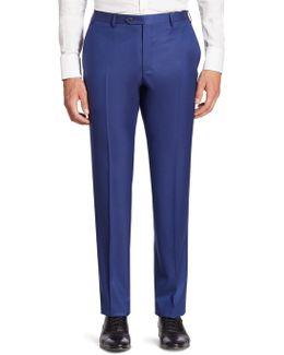 Solid Straight-leg Wool Pants