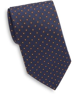 Embroidered Geometric Silk Tie