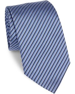 Diagonal Double Stripe Silk Tie