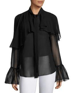 Ruffled Silk Bell Sleeves Blouse