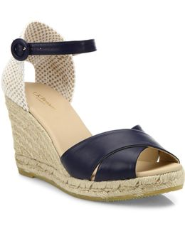 Angeles Tumbled Leather Espadrille Wedge Sandals