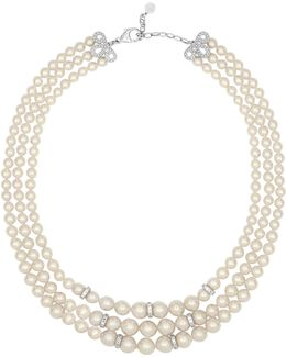 Social 6-10mm Organic Pearl & Crystal Three-row Strand Necklace
