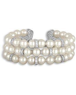 Social 8mm Organic Pearl & Crystal Three-row Bracelet