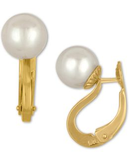 Faux-pearl Leverback Earrings