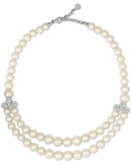 Social 8-10mm Organic Pearl & Crystal Two-row Necklace
