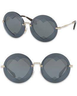 62mm Mirrored Round Heart Sunglasses