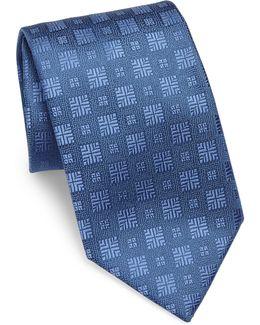 Textured Square Silk Tie