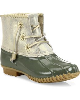 Chloe Classic Whipstitch Metallic Leather & Rubber Boots