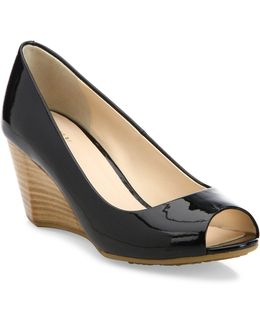 Sadie Ot Patent Leather Peep Toe Wedge Pumps