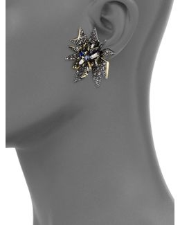 Perennial Crystal Clip-on Earrings