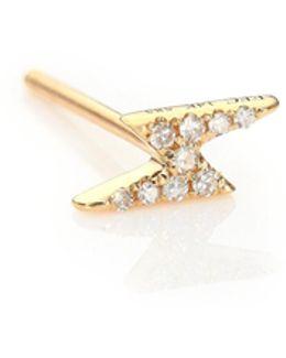 Mini Lightning Bolt Diamond & 14k Yellow Gold Single Stud Earring