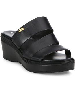 Allesa Grand Leather Wedge Slides