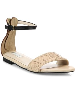 Genevieve Weave Leather Ankle-strap Sandals