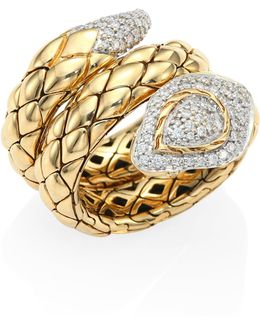 Legends Cobra Diamond & 18k Yellow Gold Ring