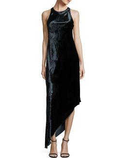 Sleeveless Asymmetric Panne Velvet Dress