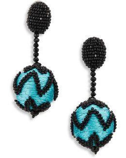 Beaded Chevron Pom-pom Clip-on Earrings