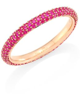 Moonlight Pink Sapphire & 18k Yellow Gold Band Ring