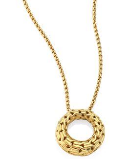 Classic Chain 18k Yellow Gold Small Round Pendant Necklaec