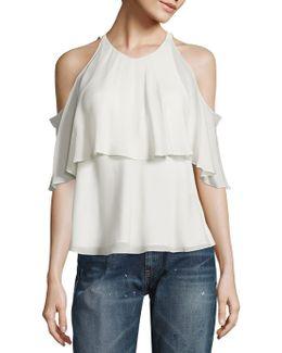 Silk Cold-shoulder Blouse