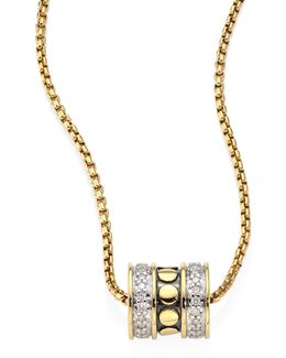 Dot Diamond & 18k Yellow Gold Roller Pendant Necklace