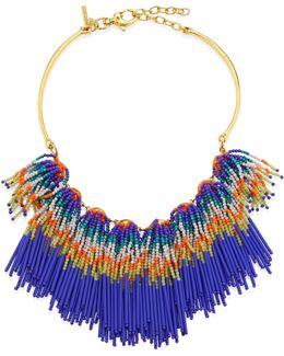 Striped Beaded Fringe Bib Necklace