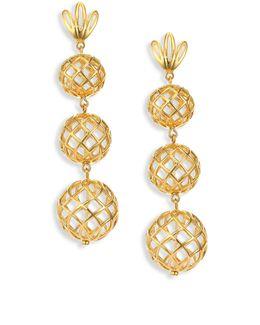 Tiered Pineapple Clip-on Drop Earrings