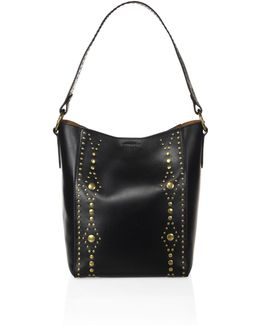 Harness Studded Leather Hobo Bag