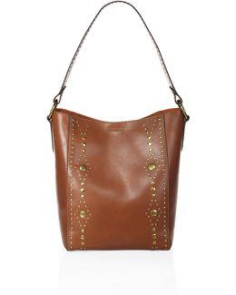 Harness Studded Leather Hobo Bag