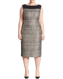 Tweed-front Sheath Dress