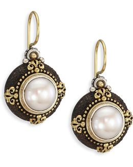 Nemesis 7mm White Freshwater Pearl & 18k Yellow Gold Drop Earrings