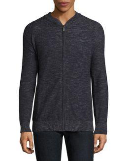 Linen-blend Zip-front Sweater