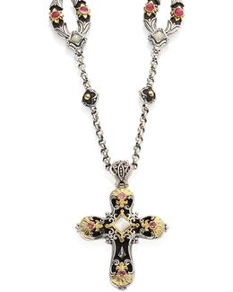 Nemesis Mother-of-pearl & Pink Tourmaline Cross Pendant