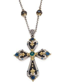 Nemesis London Blue Topaz & Green Agate Cross Pendant